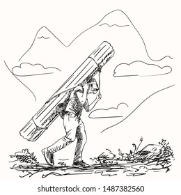 Sketch of nepali porter carrying heavy big load on his head in traditional way, Hand drawn illustration