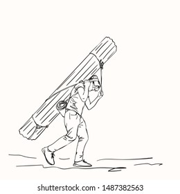 Sketch of nepali porter carrying heavy big load on his head in traditional way, Hand drawn linear illustration