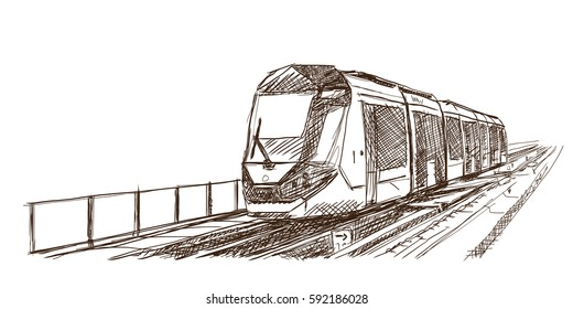Sketch of New modern tram in Dubai, United Arab Emirates in vector illustration.