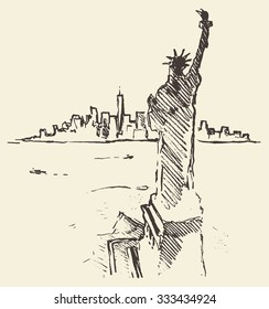 Sketch of New York city skyline with Statue of Liberty on front, vector vintage engraved illustration, hand drawn