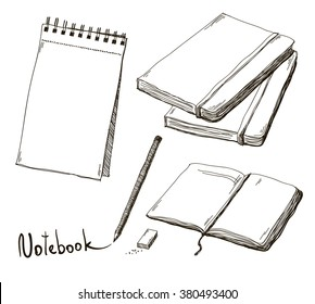 Sketch of notebooks with pencil and eraser, vector