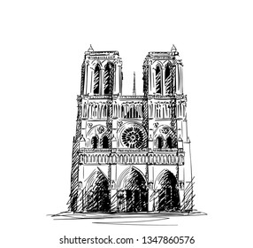 Sketch of Notre Dame Cathedral in Paris, Hand drawn illustration isolated on white