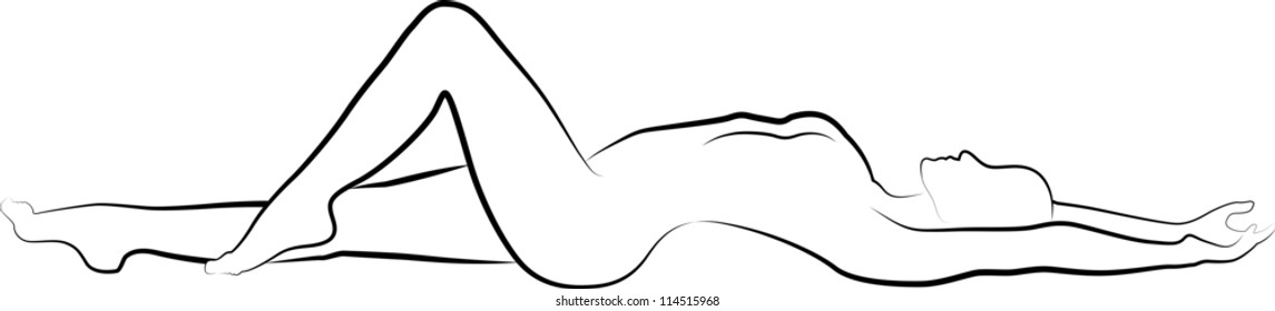 sketch of a nude woman lying