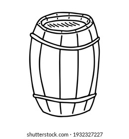 Sketch of an oak barrel. Vector element for the design.