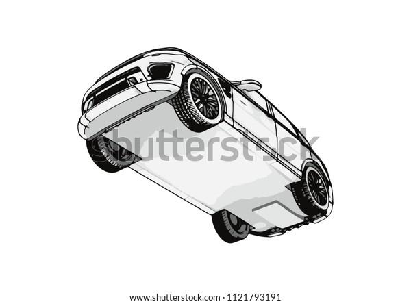 sketch of an off-road car vector