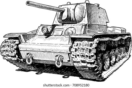 Sketch of an old battle tank