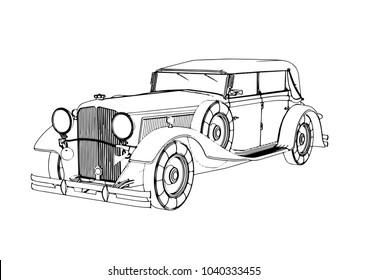 sketch of old car vector