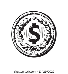 Sketch of old coin with dollar sign.  Hand drawn black and white vector illustration in retro style isolated on white background. Money cash finance wealth symbol.
