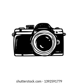 sketch old graphic style of vintag camera. Isolated vector illustration