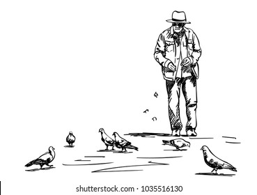 Sketch of old man feeding pigeons, Vector hand drawn illustration