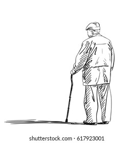 Sketch of old man walking with stick, Hand drawn illustration