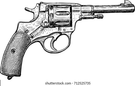 sketch of an old revolver