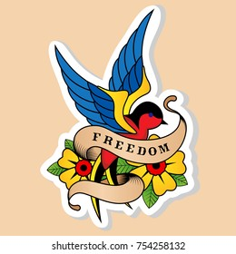 Sketch of old school tattoo. A sketch of a blue-red bird, swallow tattoo with flower and sign freedom. The sketch is made in warm colors. Hipster, youth old school picture for boys and girls