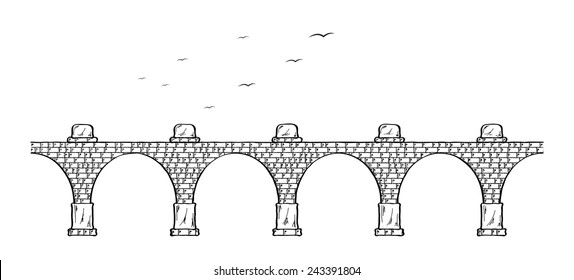 Sketch of the old stone bridge and birds.