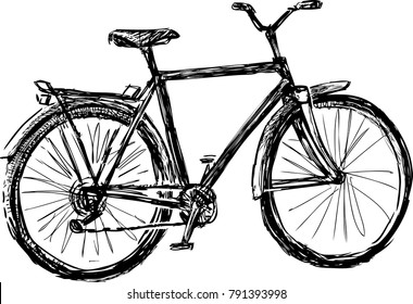 sketch of an old strolling bike