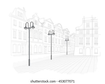 Sketch of old town square in Poland