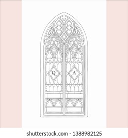 Sketch of Old Vector Hand Drawn Gothic Window. Vector Illustration Vintage Style