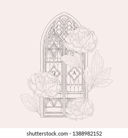 Sketch of Old Vector Hand Drawn Gothic Window Decorated with Florals, Peony Flowers. Vector Illustration Vintage Style