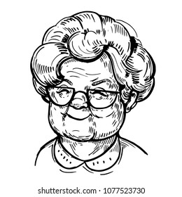 Sketch of old woman face, pensioner. Grandma. Hand drawn vector illustrtion