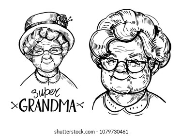 Sketch of old woman face, pensioner. Grandma. Hand drawn vector illustrtion