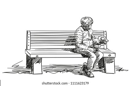 Sketch of old woman and her dog sitting on bench, Hand drawn vector illustration with hatched shades isolated on white background