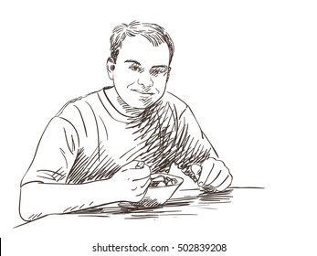Sketch om man eating food Hand drawn illustration