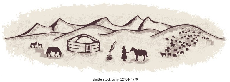 Sketch on the topic of life in Central Asia, vector illustration