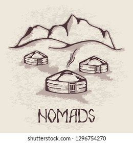 Sketch on the topic of life in Central Asia, nomads life, yurts in the mountains, yurts in vector