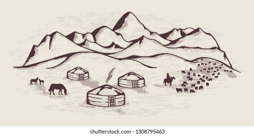 Sketch on the topic of life in Central Asia. Nomads life, yurts in the mountains, cattle graze.