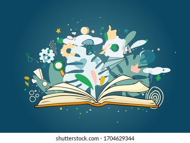Sketch open book with many symbols around. Hand drawn cartoon vector illustration for education and lifestyle design.