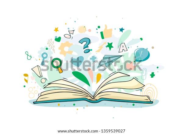 Vector De Stock Libre De Regalias Sobre Esbozar Libro Abierto Con Muchos Simbolos1359539027