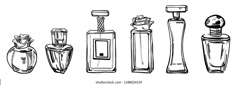 Sketch outline bottles of female perfumes. Vector hand drawn illustration  on white background