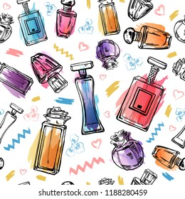 Sketch outline female perfumes bottles with color spots and lines. Vector hand drawn seamless pattern on white background