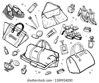Sketch outline set with female accessories. Perfumes, bags, cosmetics and shoes. Vector hand drawn illustration on white background