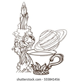 A sketch for the painting with the spacecraft, a mug of tea and the planet Saturn. Surrealistic illustration on the space theme design for t-shirts and various items and gifts.