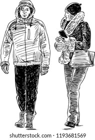 Sketch of a pair of urban dwellers walking down the street