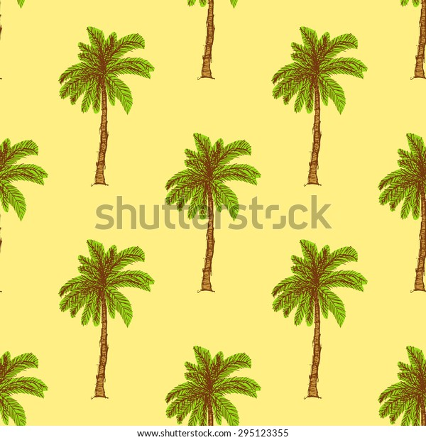 Sketch palm in vintage style, vector seamless pattern