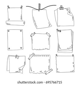 Sketch papers and different notepapers vector set in hand drawn style
