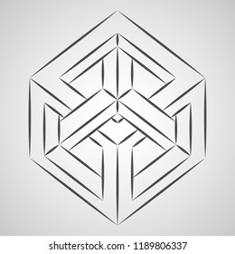 Sketch paradox cube. Penrose figure. Pure vector illustration on gray background