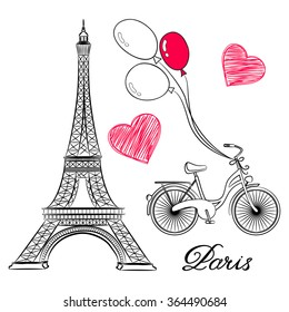 Фотообои sketch of Paris, Eiffel Tower and bike with air balloons. Vector illustration