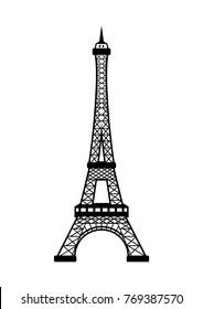 Sketch of Paris - Line Art Eiffel Tower Illustration Logo Symbol