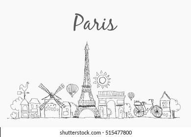 Sketch of Paris skyline, France, vintage engraved , hand drawn vector illustration eps 10