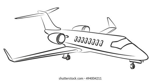 Sketch passenger aircraft.