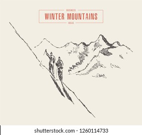 Sketch of people climb the mountain in winter, mountaineering, active recreation, ski, hand drawn vector illustration