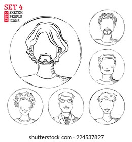 Sketch people icons. Men hand-drawn pencil pictograms isolated on white background.