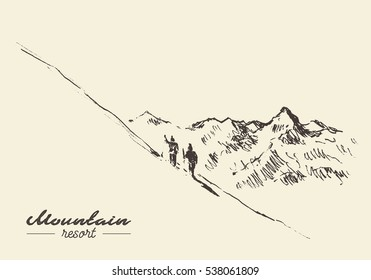Sketch of a people at mountain resort, hand drawn vector illustration