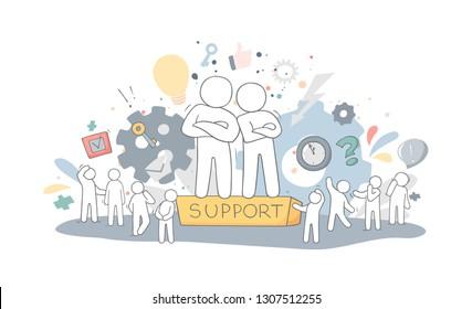 Sketch of people support. Doodle cartoon working men. Hand drawn vector illustration for business design.