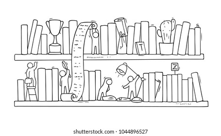 Sketch Of People Teamwork Bookscooperation Doodle Cartoon Scene With Bookshelves Hand