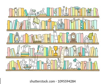 Sketch of people teamwork, books,cooperation. Doodle cartoon scene with bookshelves. Hand drawn vector illustration for education design isolated on white.