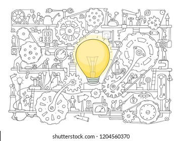 Sketch of people teamwork, gears, lamp idea. Doodle cartoon mechanism with machinery and cogwheels. Hand drawn vector illustration for business design isolated on white.